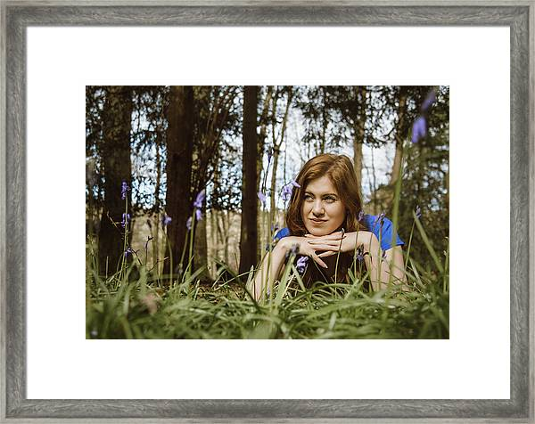 Beautiful Young Woman In The Woods Framed Print by Theasis