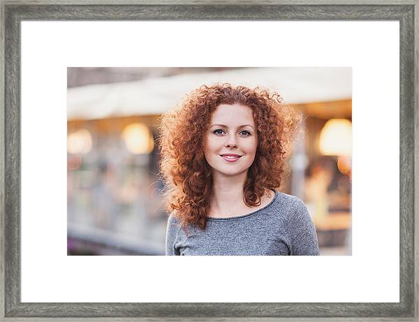 Beautiful Young Woman Outdoors Framed Print by Poike