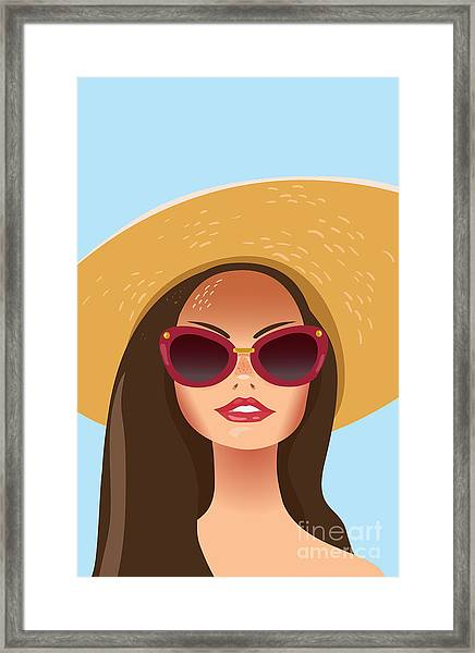 Beautiful Young Woman With Sunglasses Framed Print