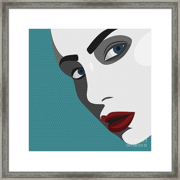 Beauty Pop Art Young Woman With Red Framed Print