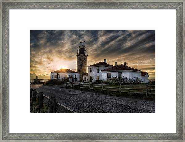 Beavertail Lighthouse Sunset Framed Print