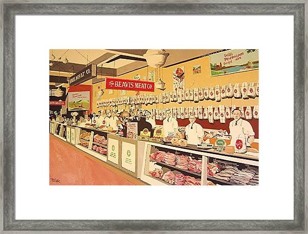 Beavis Meat In The Public Market Framed Print by Paul Guyer