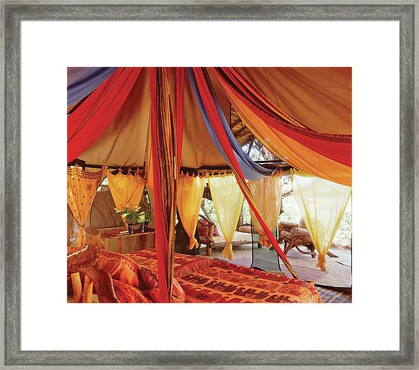 Bedroom With Multi Coloured Bed Canopy Framed Print