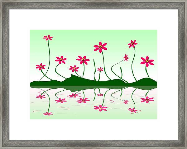 Bee Flowers Framed Print