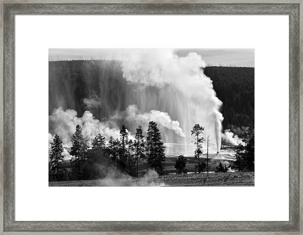 Beehive Geyser Shower In Black And White Framed Print
