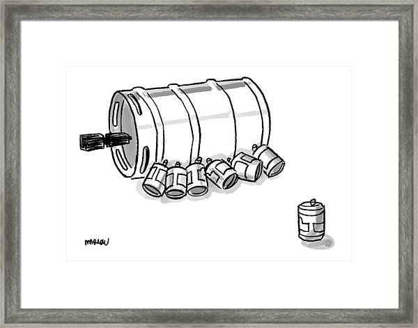 Beer Cans Nursing At A Keg Framed Print