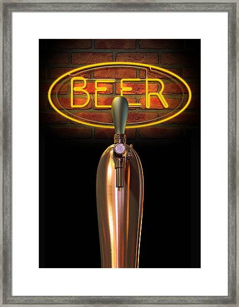 Beer Tap Single With Neon Sign Framed Print
