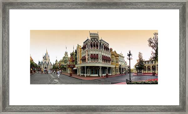 Before The Gates Open Magic Kingdom Main Street. Framed Print