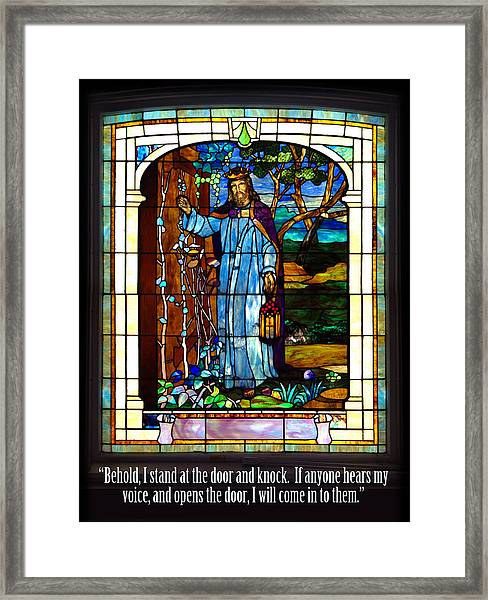 Behold I Stand At The Door Framed Print
