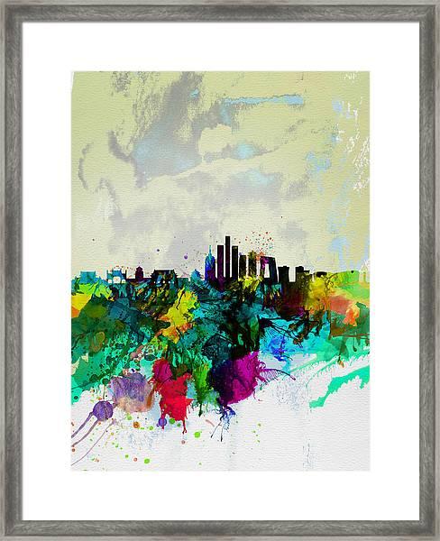 Beijing Watercolor Skyline Framed Print