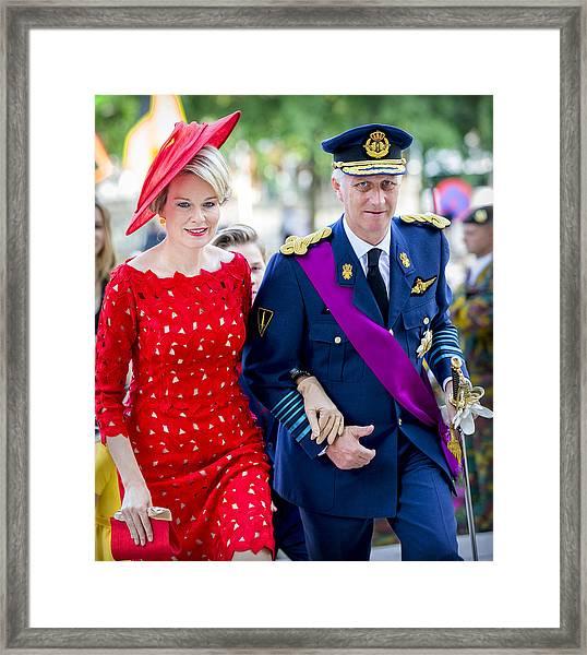 Belgian Royals Attend National Day Framed Print by Patrick van Katwijk