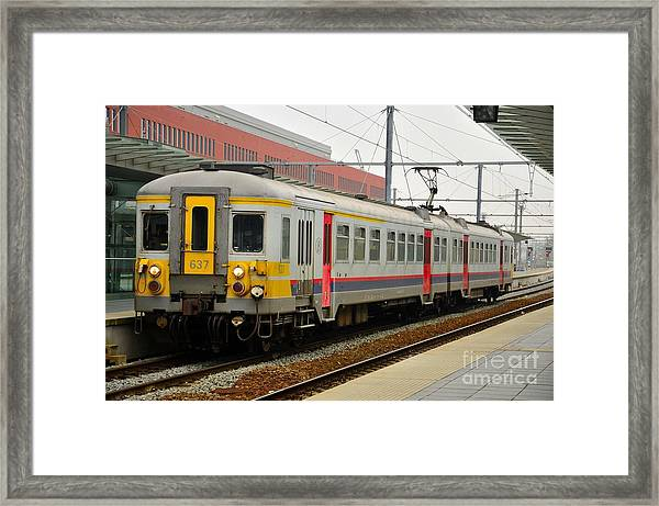 Belgium Railways Commuter Train At Brugge Railway Station Framed Print