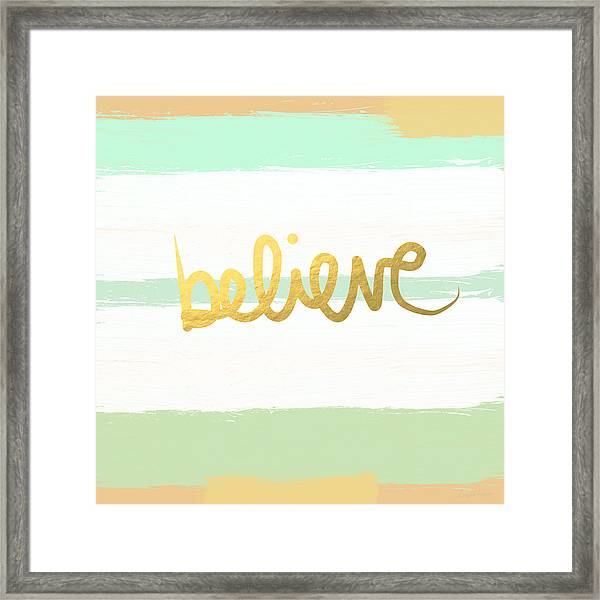 Believe In Mint And Gold Framed Print