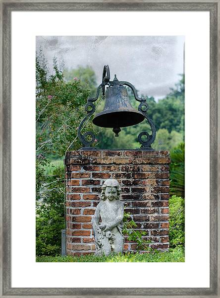 Bell Brick And Statue Framed Print