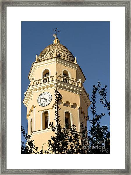 Bell Tower Of Vernazza Framed Print
