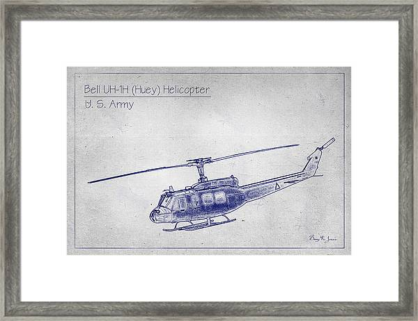 Framed Print featuring the photograph Bell Uh-1h Huey Helicopter  by Barry Jones
