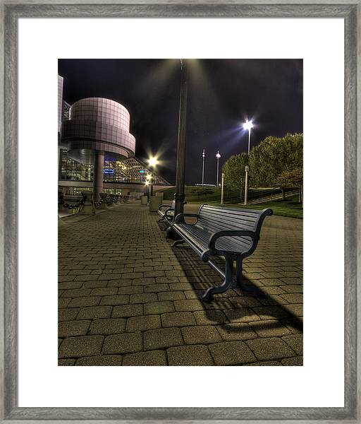 Bench At The Rock Hall Framed Print