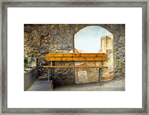 Bench In Riomaggiore Framed Print