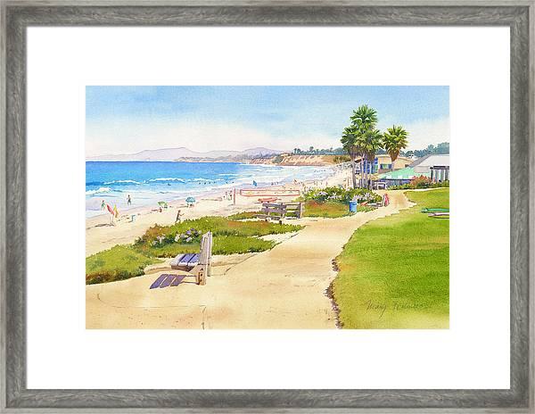 Benches At Powerhouse Beach Del Mar Framed Print