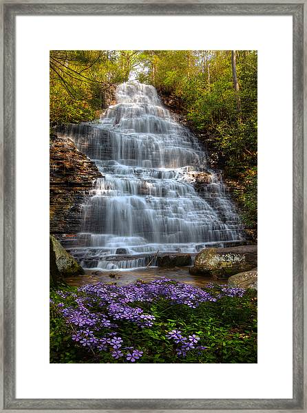 Framed Print featuring the photograph Benton Falls In Spring by Debra and Dave Vanderlaan