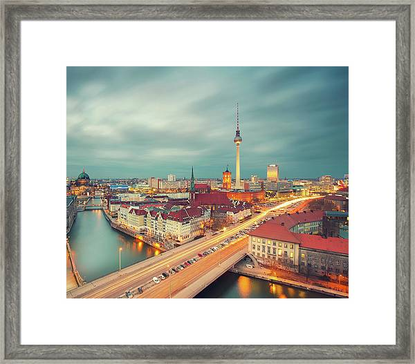 Berlin Skyline With Traffic Framed Print by Matthias Makarinus
