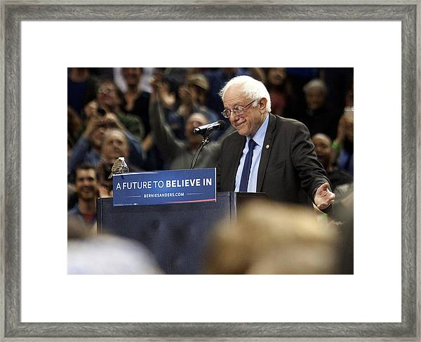 Bernie Sanders Holds Campaign Rally In Portland, Oregon Framed Print by Natalie Behring