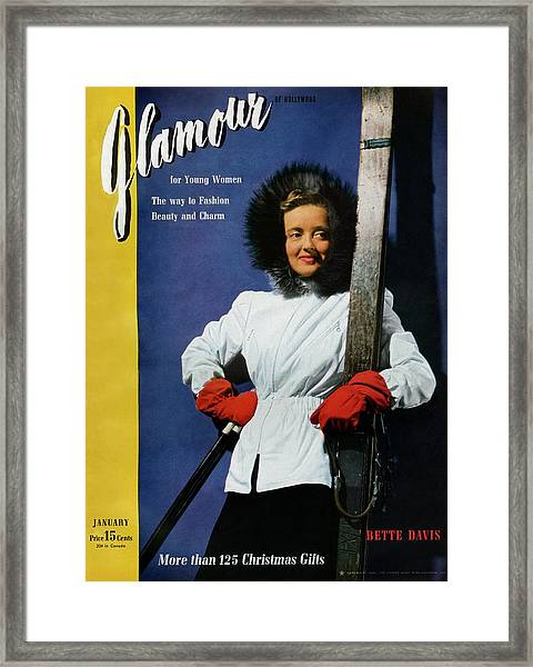 Bette Davis On The Cover Of Glamour Framed Print by John Rawlings