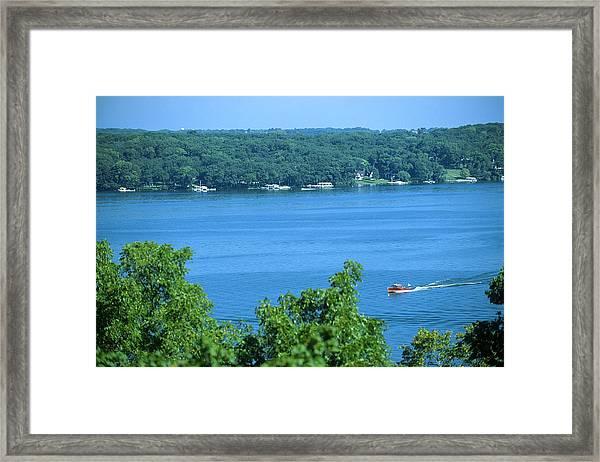 Between Green Shores - Lake Geneva Wisconsin Framed Print
