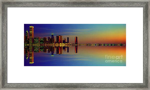 Between Night And Day Chicago Skyline Mirrored Framed Print