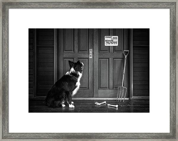 Beware Of The Owner Framed Print by Jacqueline Hammer