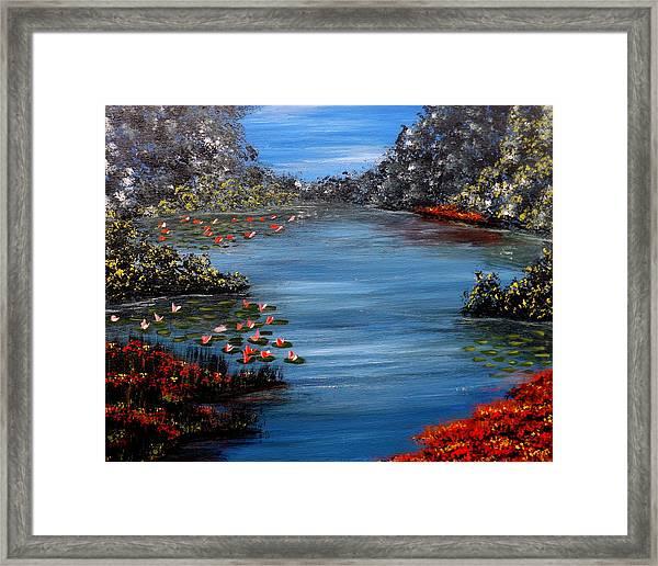 Beyond The Bridge At Lily Pond Framed Print