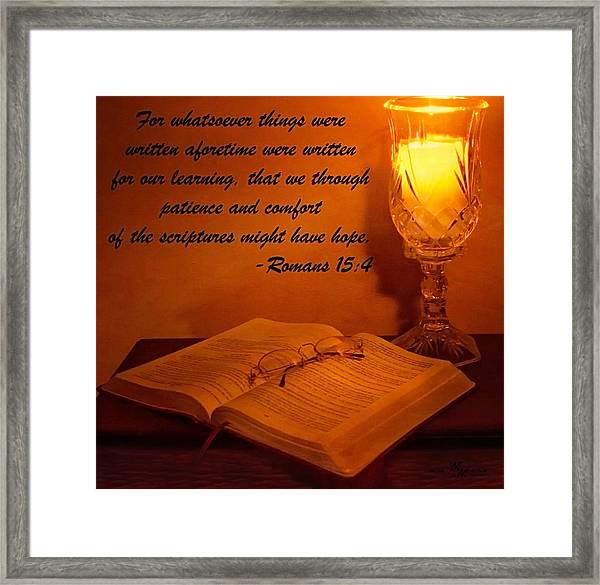 Bible By Candlelight Framed Print
