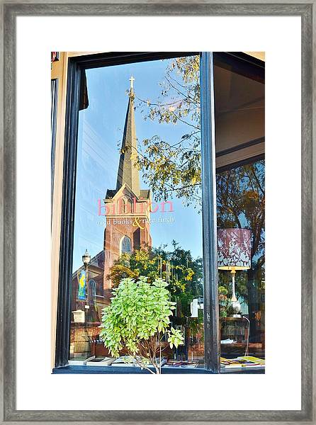 Biblion Used Books Reflections 3 - Lewes Delaware Framed Print