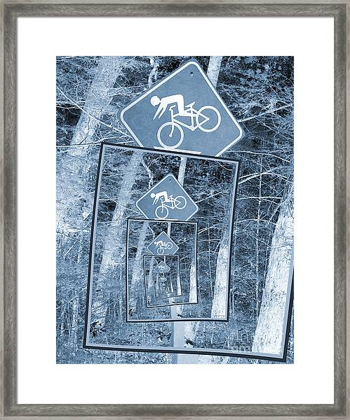 Bicycle Caution Traffic Sign Framed Print