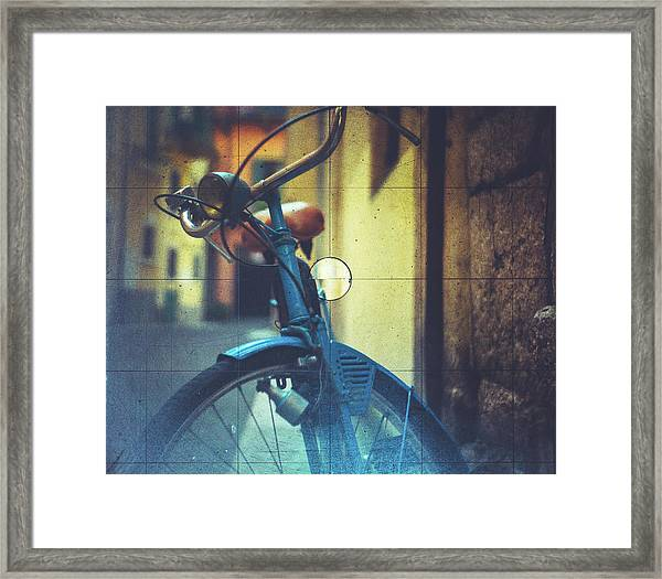 Bicycle Seen Through A Vintage Camera Framed Print