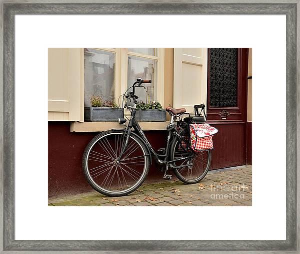 Bicycle With Baby Seat At Doorway Bruges Belgium Framed Print