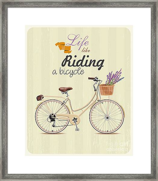 Bicycle With Lavender In Basket. Poster Framed Print by Tatsiana Tsyhanova