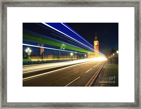 Big Ben And A Bus Framed Print