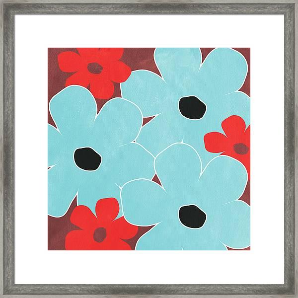 Big Blue Flowers Framed Print