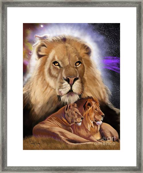 Third In The Big Cat Series - Lion Framed Print