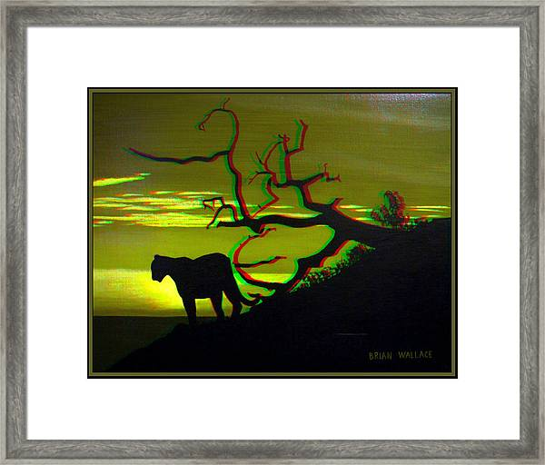 Big Cat Silhouette -  Use Red-cyan 3d Glasses Framed Print