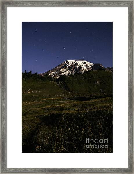 Big Dipper Over Mt Rainier Framed Print