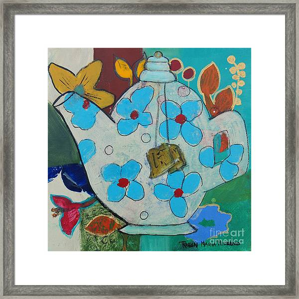 Big Floral Tea Pot Framed Print