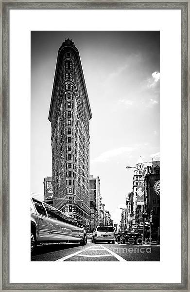 Big In The Big Apple - Bw Framed Print