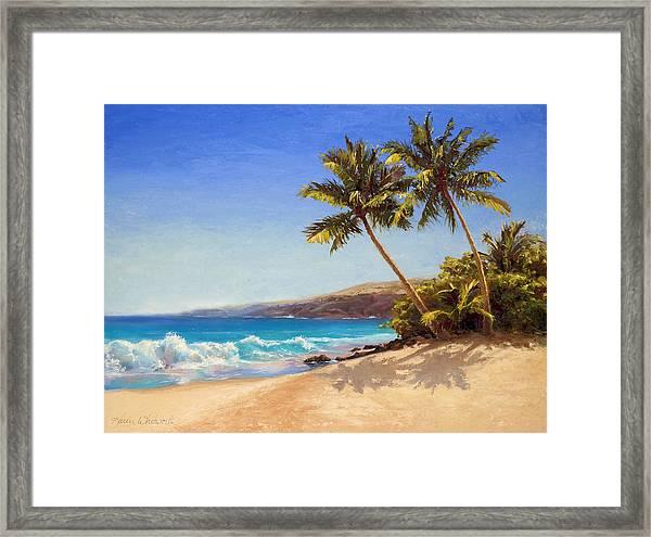 Hawaiian Beach Seascape - Big Island Getaway  Framed Print