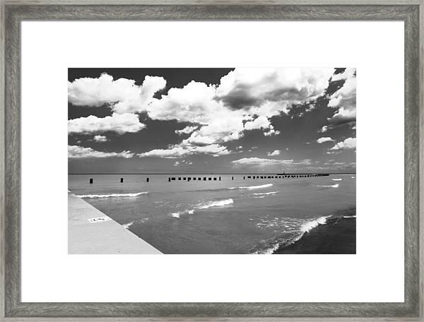 Big Lake Clouds Black White Framed Print
