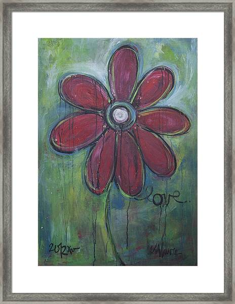 Framed Print featuring the painting Big Love Daisey by Laurie Maves ART
