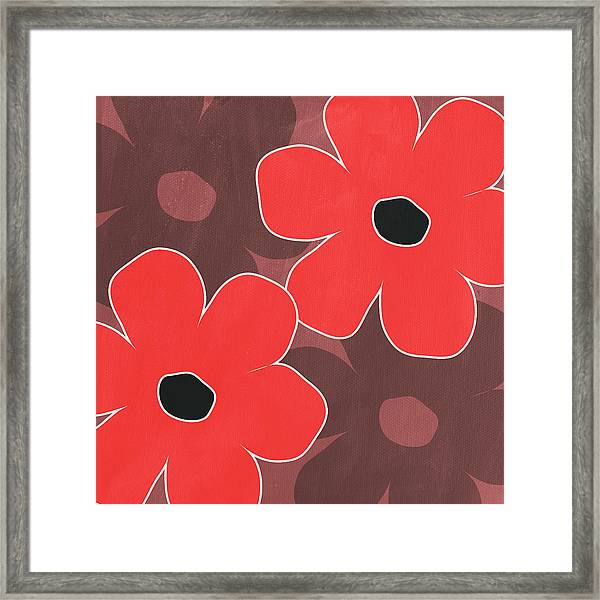 Big Red And Marsala Flowers Framed Print