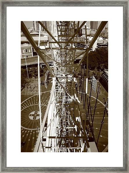 Framed Print featuring the photograph Darling Harbour Big Wheel.  by Debbie Cundy