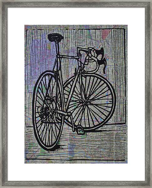 Bike 4 On Map Framed Print